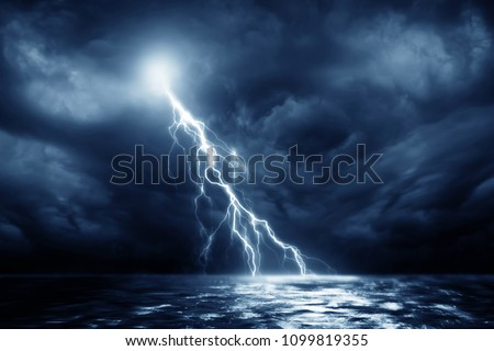 Lightning storm over Black sea near