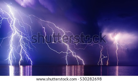 Lightning storm over Black sea near Feodosia