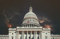Lightning storm over Capitol Building on with multiple lightning strikes in Washington DC, USA.
