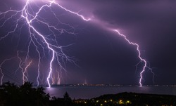 Lightning storm over Lake Balaton