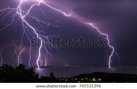 Lightning storm over Lake Balaton