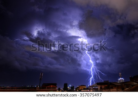 Lightning storm strikes the city of Phnom Penh, Cambodia