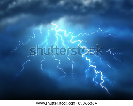 Lightning storm thunderstorm with a bolt of light electricity from a dark cloudy blue night sky as power of natural destruction and dramatic weather storm resulting in disaster and electrical shock.