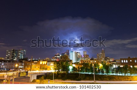 Lightning Strike Above the Denver Skyline Lights Up the Night Sky