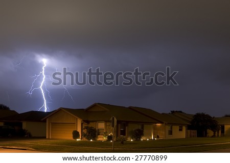 Lightning strike at night very near homes