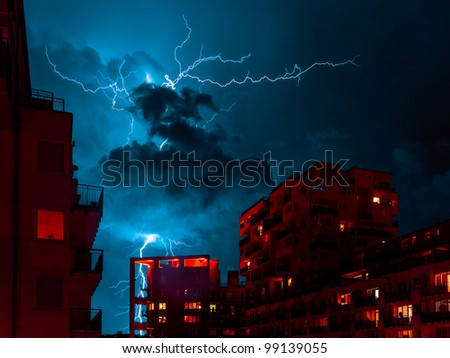 Lightning strike at residential district