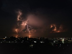 Lightning strike in a dark night