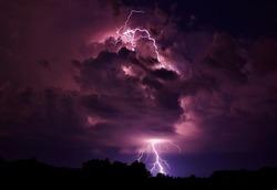 Lightning strike in Wright City, Missouri.