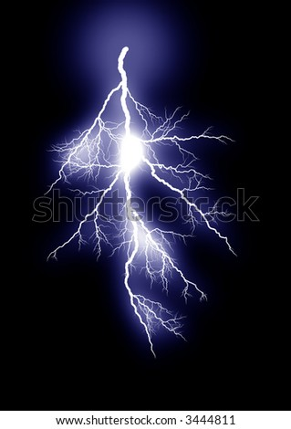Lightning strike. Isolated black background.