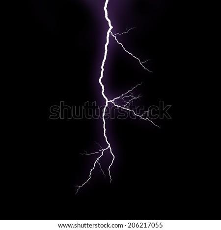 Lightning strike on the black background