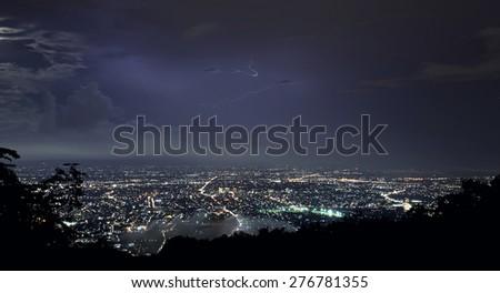 Lightning Strike Over Chiang mai City