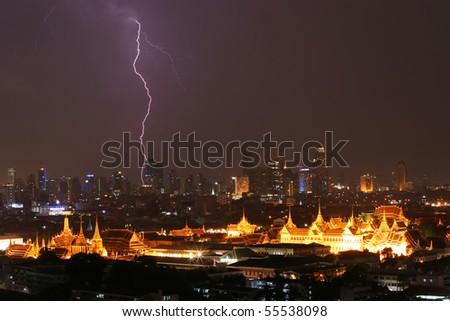 Lightning strike over Grand Palace, Bangkok, Thailand