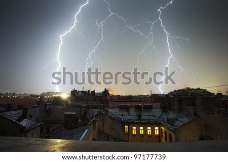 Lightning strike over St. Petersburg, Russia skyline.
