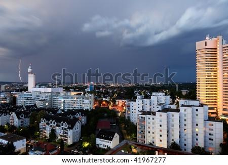 Lightning strike over the city of Frankfurt, Germany