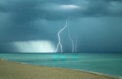 Lightning strike over the sea at Miami Beach, Florida