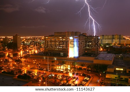 Lightning strikes a building in Miami FL during hurricane storm