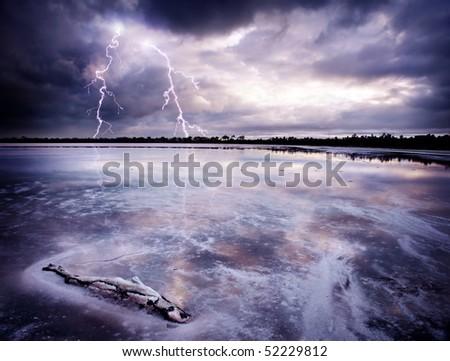 Lightning Strikes a salt lake