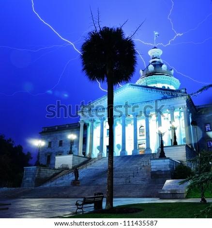 Lightning strikes above South Carolina State House in Columbia, South Carolina, USA.