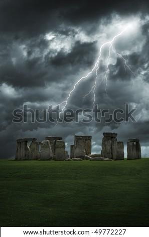 Lightning strikes above the mysterious stones of stonehenge