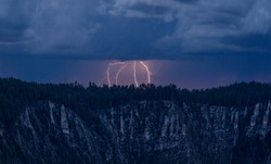 Lightning strikes along the North Rim of The Grand Canyon at Grand Canyon NationalPark, Arizona