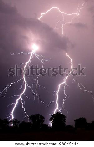 Lightning strikes in the darkness