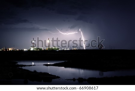 Lightning strikes near power station