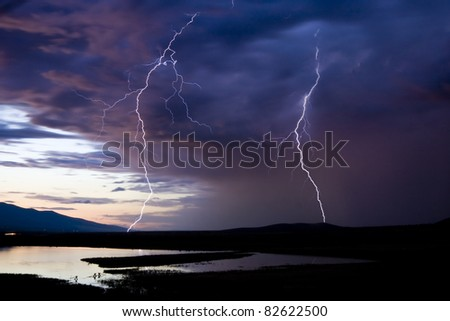 Lightning Strikes over a scenic Montana background