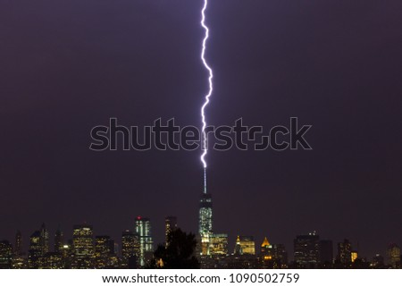 "Lightning strikes the ""Freedom Tower"" in New York City"