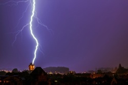 Lightning strikes the Nibelungenturm in Worms, Germany on July 8th 2014