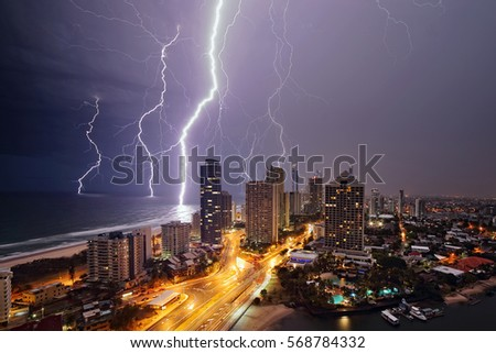 Lightning strikes the ocean around Surfers Paradise in Queensland, Australia.
