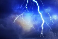 Lightning, thunder cloud b abundantly