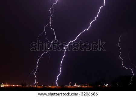 Lightning thunder storm weather rain strike landscape