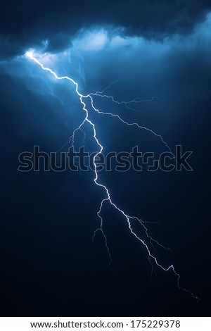Lightning with dramatic clouds (composite image)