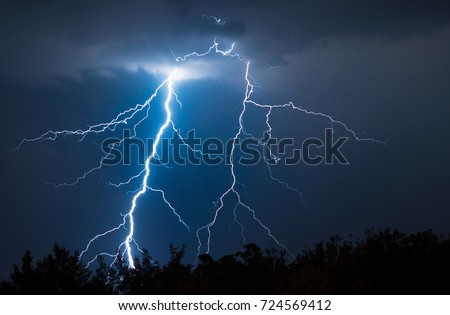 lightnings and thunder bold strike at summer storm