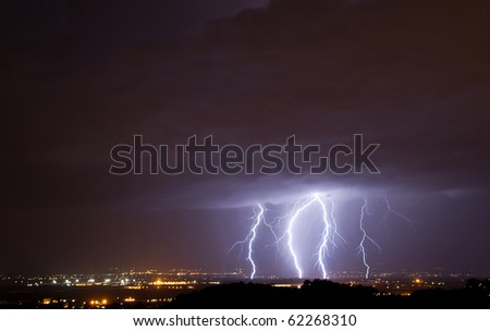 Lightnings over a small town