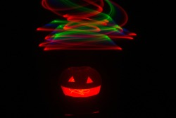 lightpainting and lightdrawing of pumpkins for halloween