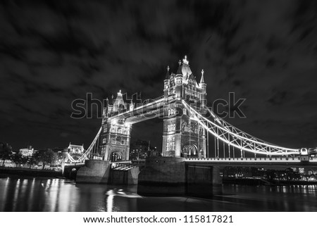 Lights and Colors of Tower Bridge at Night - London - UK