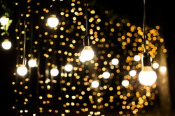 Lights and lanterns in the night. Bokeh