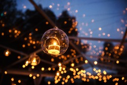 Lights and lanterns in the wedding. Bokeh.