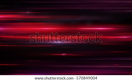 Lights and stripes moving fast over dark background. Red backdrop from fast-moving glow particles.3d illustration