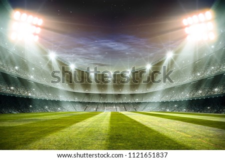 Lights at night and football stadium 3d rendering  #1121651837