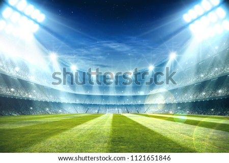 Lights at night and football stadium 3d rendering  #1121651846