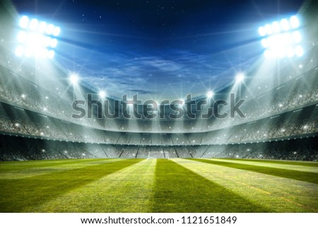 Lights at night and football stadium 3d rendering  #1121651849