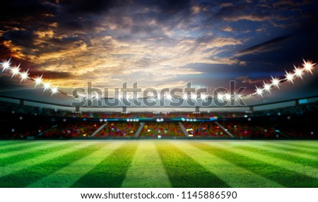lights at night and football stadium 3d rendering. Mixed photos #1145886590