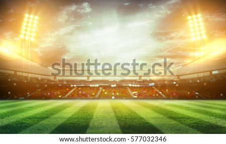 lights at night and stadium 3d