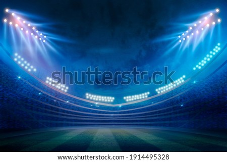 lights at night and stadium 3d render. Realistic football arena. Soccer playing field at night with illuminate bright stadium lights,  football championship or match team