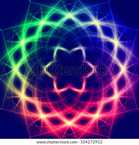 Lights forming  abstract mystic retro colorful flower