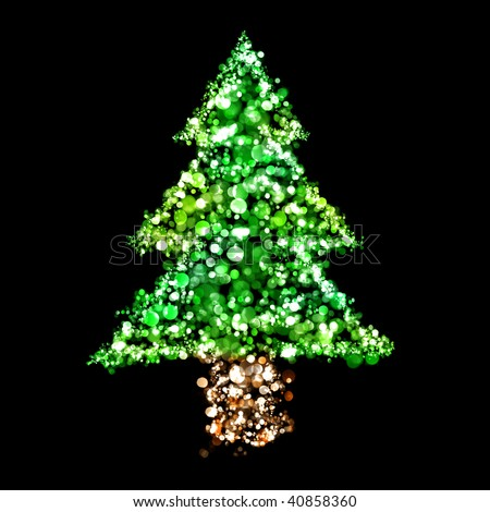 Lights In The Shape Of A Christmas Tree Stock Photo 40858360 : Shutterstock