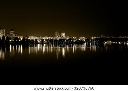 lights night city with...