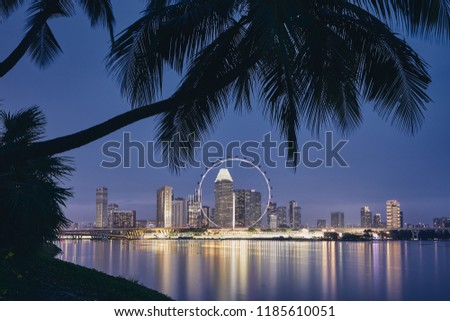 Lights of modern asian city. Palm tree against Singapore skyline at dusk.  #1185610051